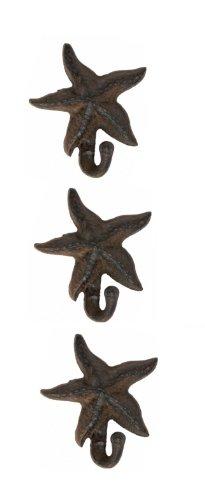 Starfish Wall Hooks Hangers Cast Iron Brown - Set of 3