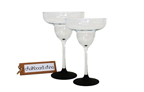 Chalkboard Margarita Glasses, Set of 2, 13 oz, Classic Style, Clear and Black Design by Chalkboard China (Susie Cooper Design)