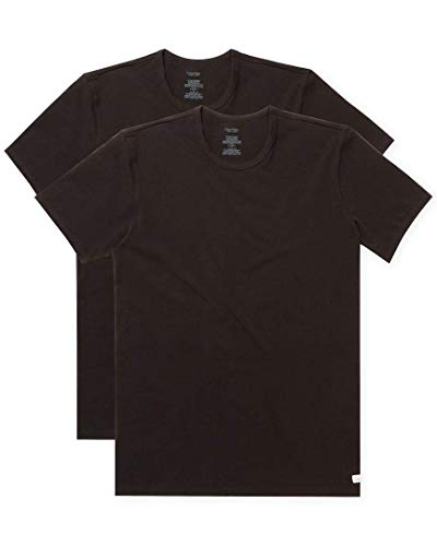 Calvin Klein Men's Cotton Stretch Multipack Crew Neck T-Shirts, Black, Medium