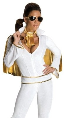 (Secret Wishes Women's Sexy Female Elvis Costume, White,)