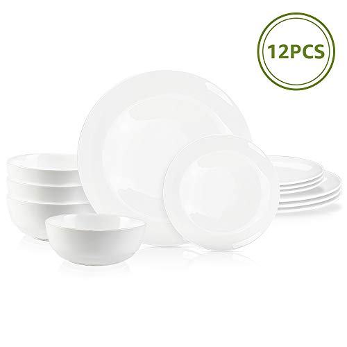 """DANMERS 12-Piece Dinnerware Set White Dinner Sets Service for 4, 10.5"""" Dinners Plates, 7.5"""" Bread Plates and 5.5"""" Cereal Bowls Set Break and Crack Resistant (12 PCS-A White)"""
