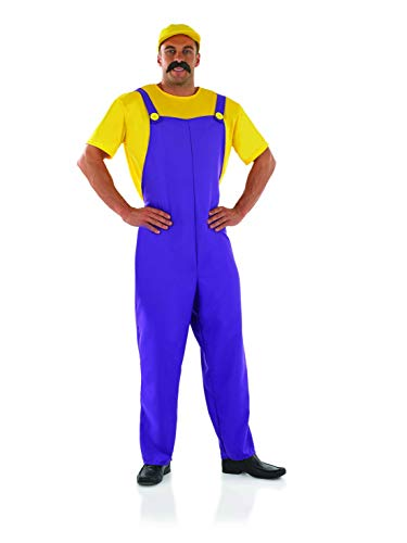 Mens Wario Costume Mario Bros Purple Plumber Brother Overalls Outfit - Large ()
