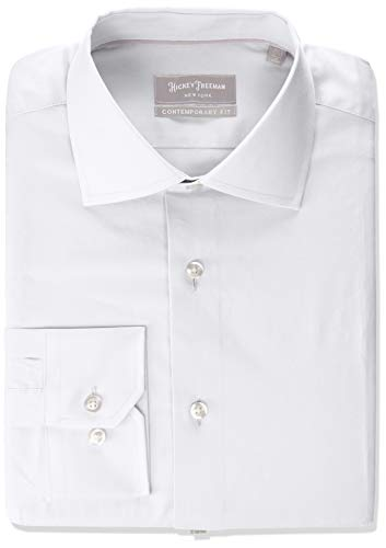 Photo Hickey Freeman Silver Men`s Contemporary Fitted Long Dress Shirt, White, 18