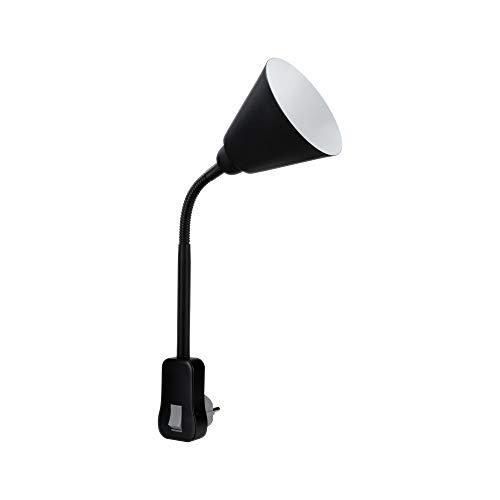 Paulmann 95427 Stekkerlamp Junus met flexibele arm max. 20 watt lamp zwart metaal, kunststof licht E14