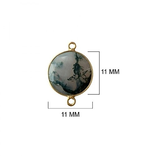 (2 Pcs Natural Moss Agate Coin Beads 11mm 24K Gold Vermeil by BESTINBEADS, Natural Moss Agate Coin Pendant Bezel Gemstone Connectors Over 925 Sterling Silver Bezel Jewelry Making Supplies)