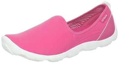 crocs Women's 14698 Duet SPT Skimmer,Hot Pink/White,4 M US
