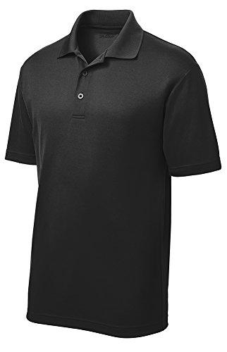 - DRIEQUIP Moisture Wicking Mens Short Sleeve Polo Tee-L-Black