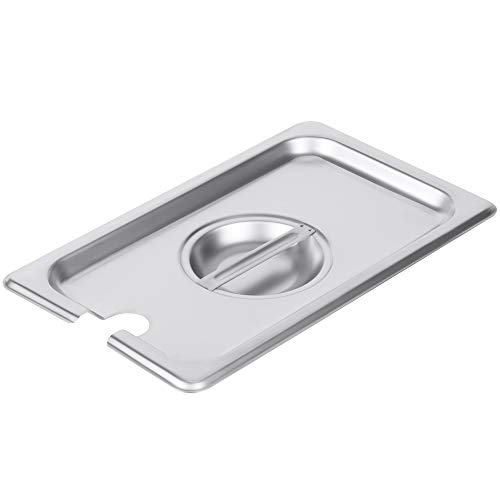 - 1/4 Size Stainless Steel Slotted Steam Table Pan Cover, Pan Lids, Non-Stick Surface, Lid for 1/4 Size Steam Pans with Handle