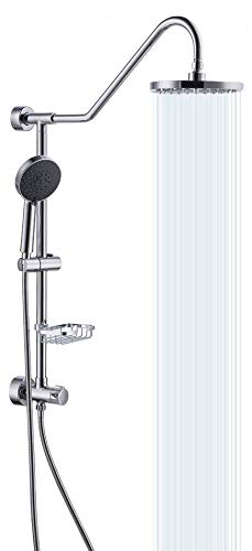 KES Retrofit Rain Shower System BRASS Diverter with 5 Function Handheld Shower and Adjustable Slide Bar Stainless Steel Soap Dish Wall Mount Polished Chrome, X6400A-CH