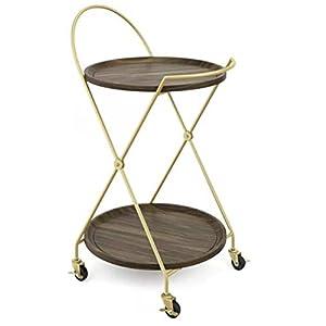 Etha- Bar Cart with Wine Rack-Gold Dark Walnut 21″ Width-Mobile Display Or Showcasing Your Favorite Bottles,