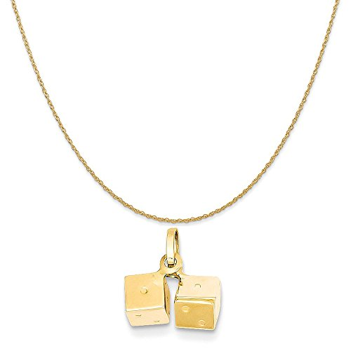 Mireval 14k Yellow Gold Dice Charm on a 14K Yellow Gold Rope Chain Necklace, 20