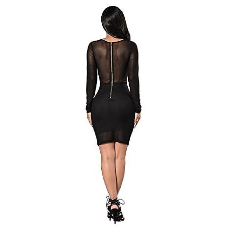 Carolina Dress Vestidos Ropa De Moda Para Mujer De Fiesta y Noche Casuales Elegante Negro (L) ve0076 at Amazon Womens Clothing store: