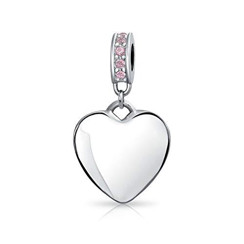 Engravable Crystal Pink Heart Dangle Charm Bead For Women 925 Sterling Silver European Bracelet Birth Month November