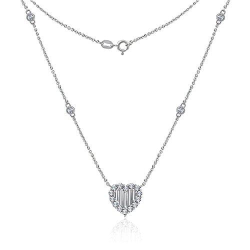 Baguette Heart Necklace - DIAMONBLISS Sterling Silver Cubic Zirconia Baguette Heart Necklace
