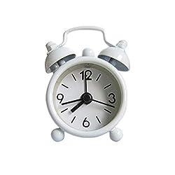 Home Decor,Deyoav2pc Creative Cute Mini Metal Small Alarm Clock Electronic Small Alarm Clock (White)