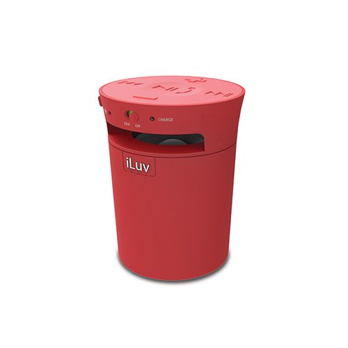 Systems Jwin Speaker (iLuv MobiCup Splash-Resistant Wireless Bluetooth Speaker and Speakerphone for Kindle, Tablet or Smartphone (Red))