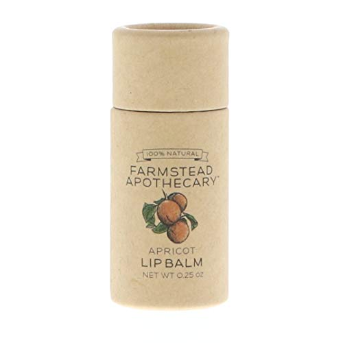 Farmstead Apothecary 100% Natural Lip Balm with Organic Beeswax, Organic Shea Butter & Organic Coconut Oil, Apricot 0.25 oz