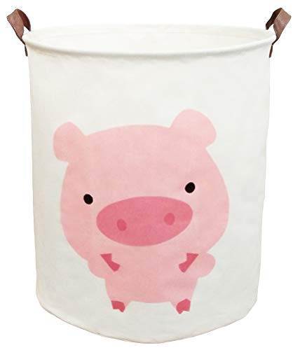 BOOHIT Storage Baskets,Canvas Fabric Laundry Hamper-Collapsible Storage Bin with Handles,Toy Organizer Bin for Kid's Room,Office,Nursery Hamper, Home Decor (Pink Pig) ()