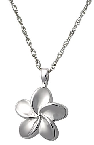 Cremation Memorial Jewelry: Sterling Silver - Plumeria Clasp