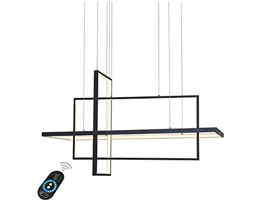 Design Pendant Lighting (Unitary Brand Modern Black Acrylic Remote Control Nature White and Warm White Dimmable LED Geometric Modeling Design Pendant Lighting Max 90W Painted Finish)