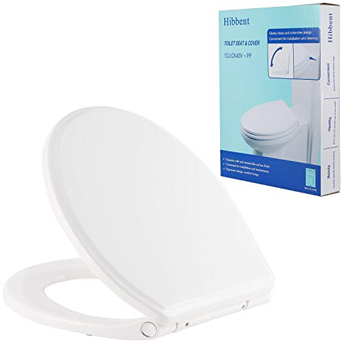 Hibbent Premium One Click Round Toilet Seat with Cover - Easy Installation and Quick-Release Removable for Cleaning - Stable Metal Hinge - Soft Closed - White Color(Round)