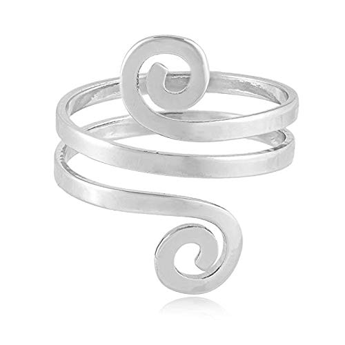 MANZHEN Fashion Double Swirl Wire Wrap Faceted Adjustable Thumb Open Ring (Silver)