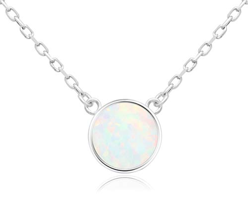 KristLand - 925 Silver Necklace Simple Style Natural Druzy Round Rainbow Stone Pendant Adjustable Chain Tiny White Opal