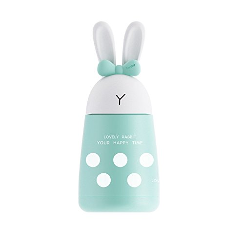Stainless Steel Water Bottle+10oz, Portable Vacuum Coffee Mug, Creative Rabbit Vacuum Flask (Cyan)