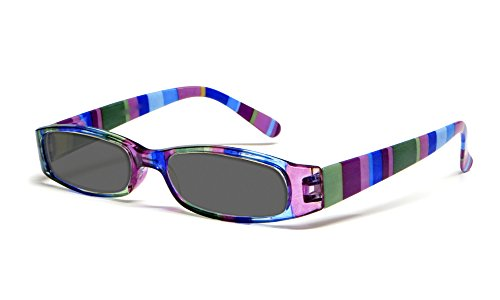 Calabria R576S Womens Colorful Striped Reading Sunglasses Incredibly Lightweight and Comfortable Soft Slip In Case Included (Purple -