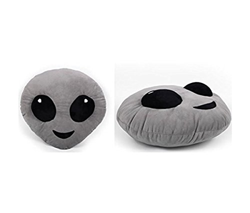 Mozlly Multipack - Top Trenz Inc Mojicon Grey Alien Emoji Large Throw Plush Pillow - 14 inch x 14 inch - Novelty Home Décor (Pack of 6) - Item #S135006_X6 by Mozlly
