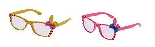 UltraByEasyPeasyStore 2 Pairs of Cute 3D Multi Color clear lens Bunny Heart Bow Frames for costumes parties Glasses gift nerds & hipsters Blue Pink Black Yellow White (1 Pink 1 Yellow Pair) ()