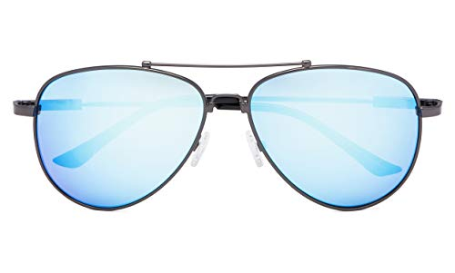 - Memory Bridge and Arm Bifocal Sunglasses Polit Style Sunshine Readers Men Women Blue Mirror +1.50