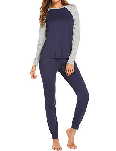 - Ekouaer Pajama Set Women's Soft Sleepwear Casual Loungewear Set Long Sleeve Pjs with Long Pants, Navy, Small