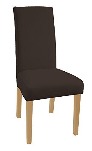 SCHEFFLER-HOME Mia aus Microfiber Stuhlhussen 2 Stück, Stretch-Stuhlbezug elastische moderne Husse, Dekoration Stuhl-Abdeckung aus Elastik-Stoff mit Gummiband für universelle Passform, bi-elastic Spannbezug, sehr pflegeleicht und langlebig - Braun