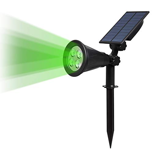 T-SUN Solar Spotlight LED Outdoor Wall Light, IP65 Waterproof, Auto-on At Night/Auto-off By Day, 180°angle Adjustable for Tree, Patio, Yard, Garden, Driveway, Stairs, Pool Area (Green)