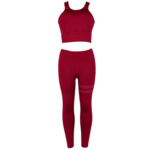 Premium Yoga Clothes Sets - Active Wear Tank Top/Bra and High-Waist Leggings 2 Piece Sets - Women Gym Clothes (Small, Red)