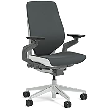 Steelcase Gesture Task Chair: Shell Back - Platinum Metallic Frame/Base/Seagull Accent - Standard Carpet Casters