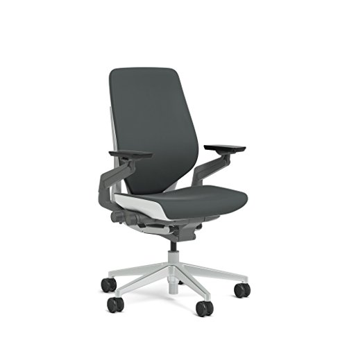 Steelcase Gesture Task Chair: Shell Back - Platinum Metallic Frame/Base/Seagull Accent - Standard Carpet - Shell Task