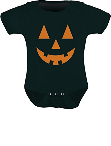 Tstars - Orange Pumpkin Face Jack O' Lantern Halloween Costume Baby Bodysuit NB (0-3M) Black]()