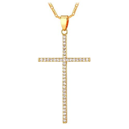 U7 Women Simple Classic 18K Gold Plated CZ Cross Pendant Necklace