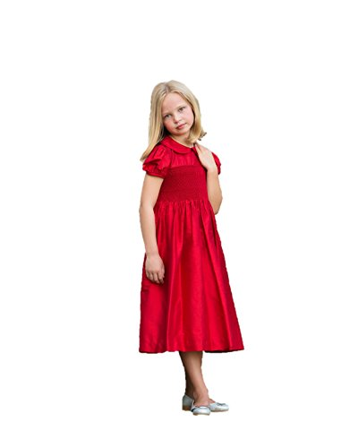 Red Flower Girl Dresses Formal Smocked Strasburg Children Christmas Silk Dresses (5) by Strasburg Children