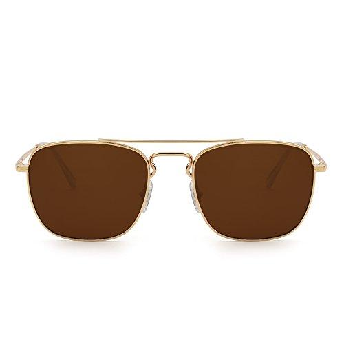 Retro Square Aviator Sunglasses Premium Glass Lens Flat Metal Eyewear Men Women (Gold/Brown)