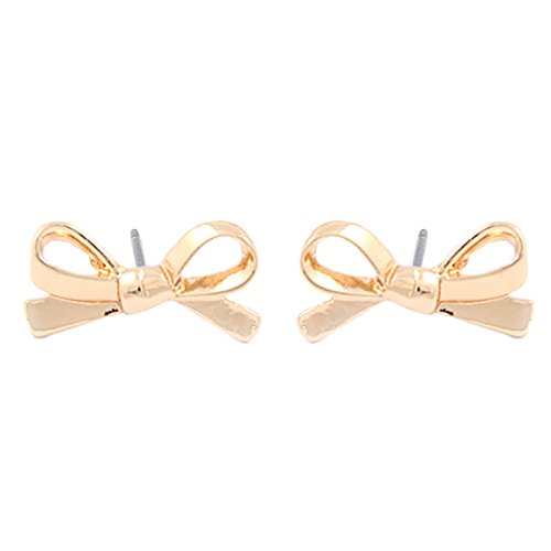 Gold Plated Bow (ACCESSORIESFOREVER Cute Mini Bow Tie Ribbon Fashion Stud Post Earrings E615 Gold)