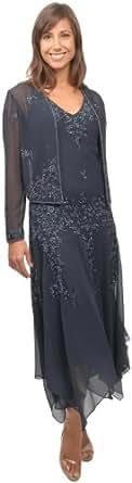The Evening Store Chiffon Handkerchief Hem Beaded with Jacket Small Black (Small)