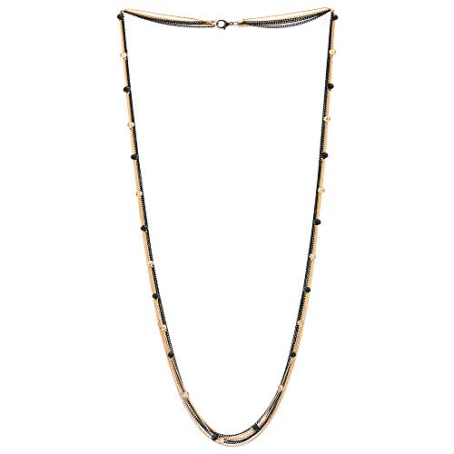 COOLSTEELANDBEYOND Black Gold Multi-Strand Long Chains Statement Necklace with Crystal Beads Charms Pendant, Dress Prom