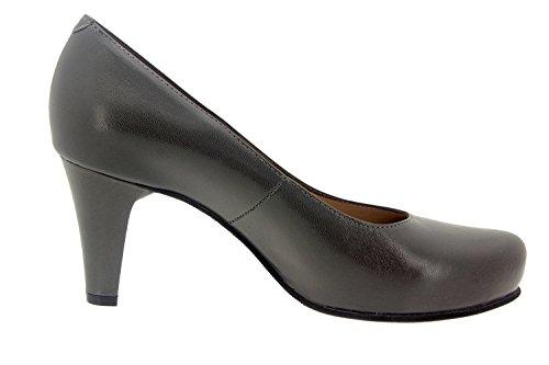 Calzado mujer confort de piel con plantilla Piesanto 5225 merceditas zapato vestir cómodo ancho Gris