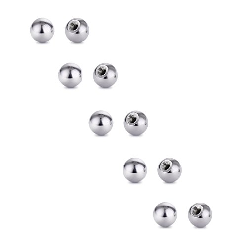 Ball Labret Ring - Cottvott Threaded 316L Steel Replacement Balls Piercing Parts for Body Jewelry Labret Belly Rings Tongue Barbell 16G Pack of 10 (10pcs 16G 3mm)