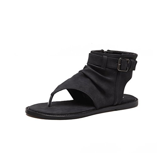 Alto Black Mujeres color cn35 De Verano Hebilla Eu36 Zapatos 5 Plano uk3 Sandalias Romanos Tamaño Donglu Cinturón Las Tacón qOffAt