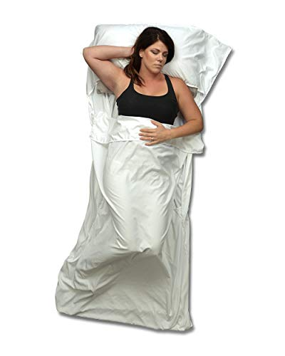 Sleeping Bag Liner and Travel Sheet to Keep You Clean with Full Length and Bottom Zipper