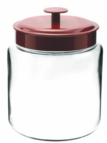 Anchor Hocking Montana Glass Jars with Fresh Sealed Lids, Red Metal, 96 oz (Set of 2)